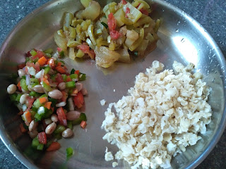 Sorghum (Solam) poha, Boiled groundnut veg chat with Capsicum Carrot Tomato Onion pepper salt, Ash gourd Snake gourd Chow Chow curry