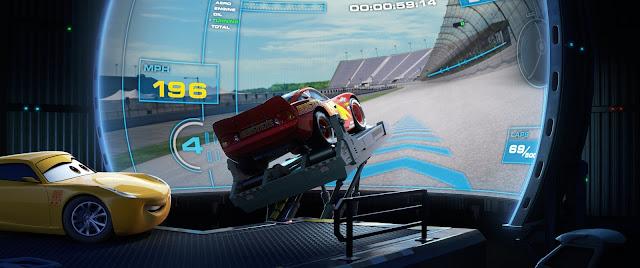 Le simulateur dans Cars 3, des studios Disney-Pixar