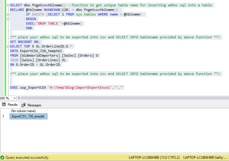 All about SQLServer: SQL Server export adhoc SQL or table to