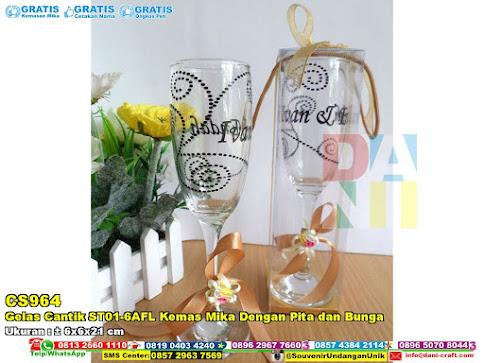 Gelas Cantik ST01-6AFL Kemas Mika Dengan Pita Dan Bunga
