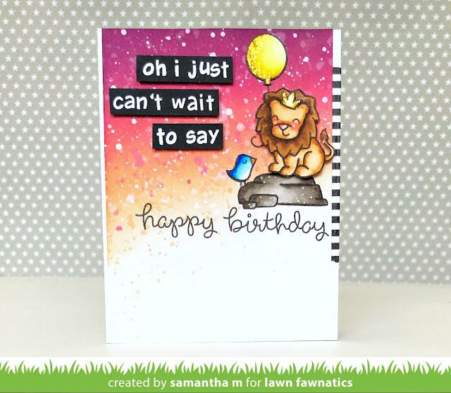Lion King Inspired Card by Samantha Mann, Lawn Fawn, Lawn Fawnatics, Distress Ink, Birthday, handmade card, #lawnfawn, #lionking, #birthday