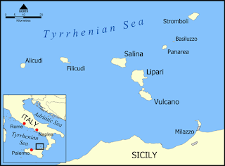 Aeolian Islands map, Sicily