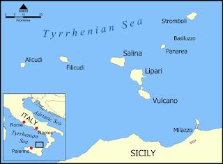 Aeolian Islands map, Sicily