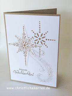 Stampin Up Weihnachtskarte mit sternebzauber und weihnachtsstern Stanzen für BigShot