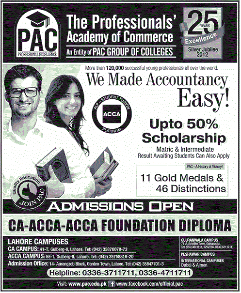 Professionals Academics: CA ACCA Foundation Diploma Admission 2019 PAC