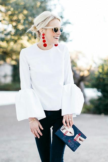 Street-Fashion-white-blouse-black-jeans