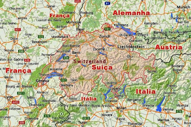 Mapa da Suíça | Principais cidades e paises vizinhos