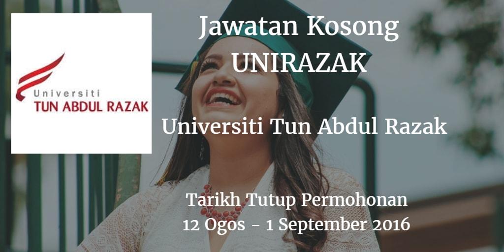 Jawatan Kosong UNIRAZAK 12 Ogos - 1 September 2016