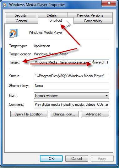 Windows Media Player: properties