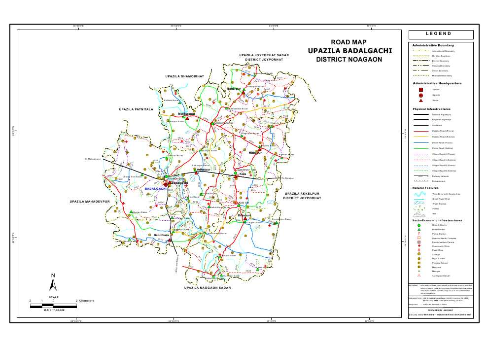 Badalgachi Upazila Road Map Naogaon District Bangladesh