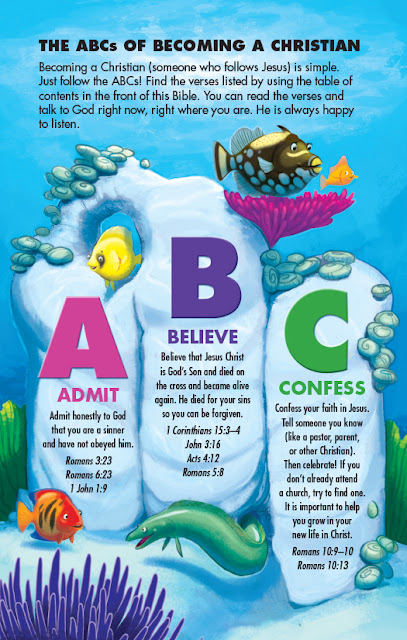 The ABCs of becoming a Christian page from Bible