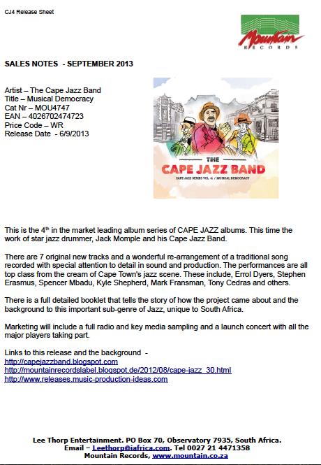 MUSICAL DEMOCRACY - Cape Jazz Band - New Album - PRESS