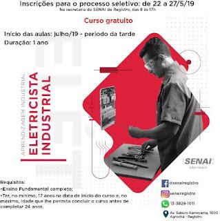 SENAI abre PROCESSO SELETIVO: Cursos Gratuitos de Eletricista Industrial e Operador de Processos Químico e Mineral