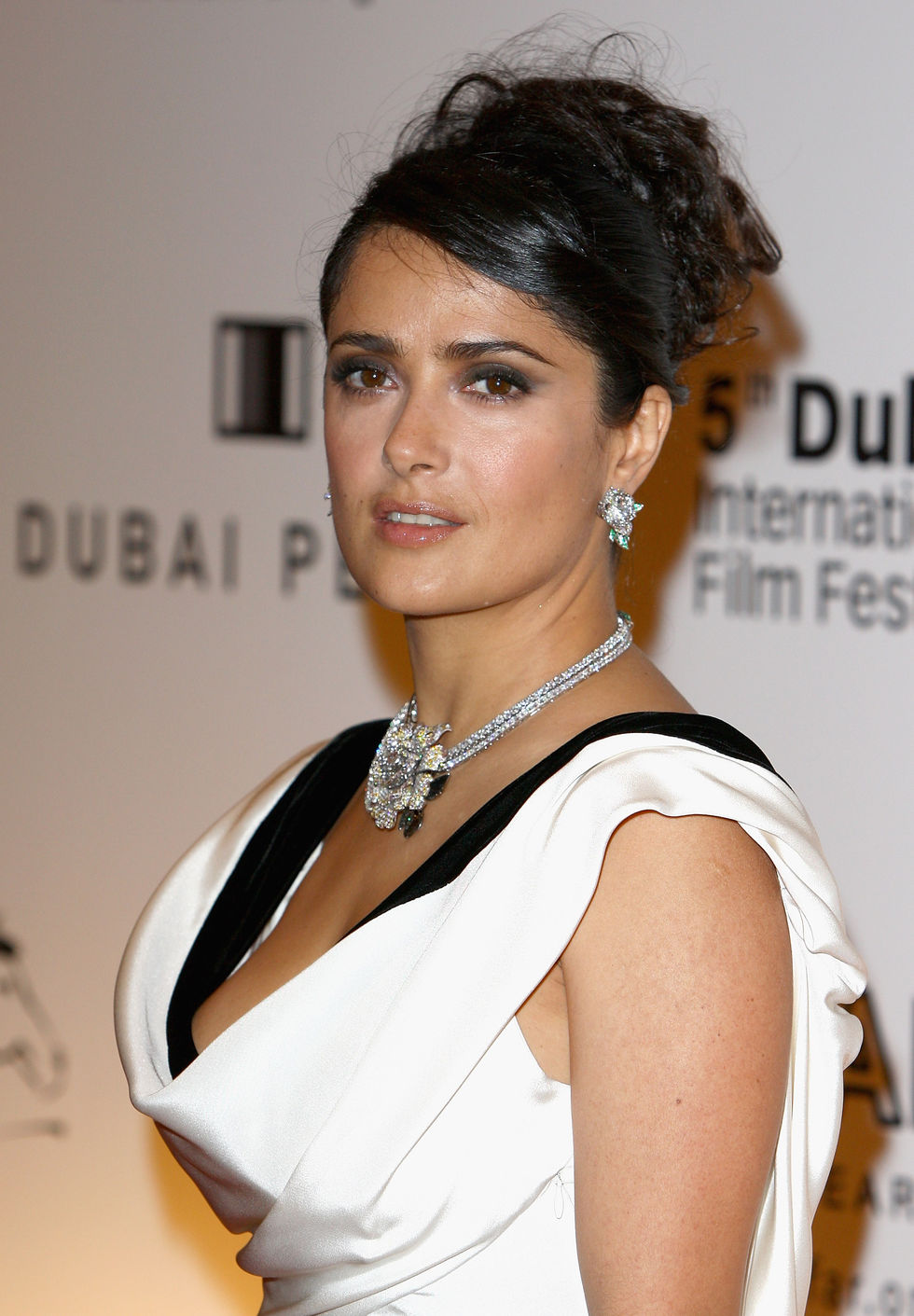 Mexican American actress Salma Hayek In White Dress