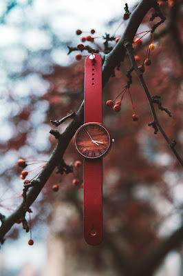 Ovi Red Women's Wooden Wrist Watch