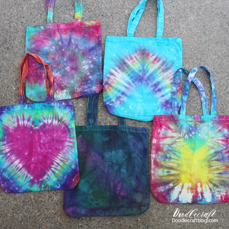 Tie dye cotton tote bags for perfect party favors for teenagers crafts