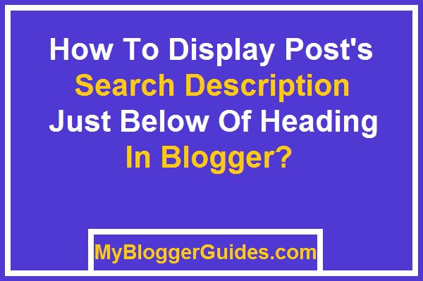 Display Meta Description, Show Search Description, Blogger Meta Search Description