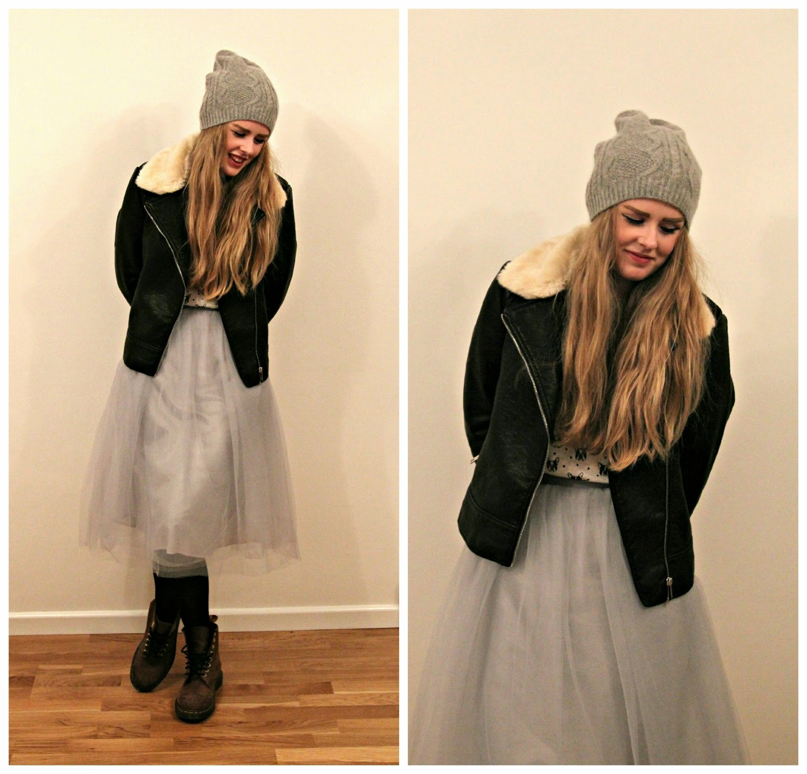 Tulle Skirt and Grey Beanie