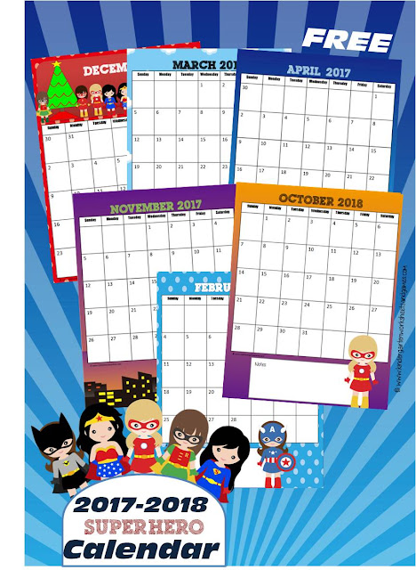 FREE Girl Superheroes Printable Calendar - free printable calendar for 2017 and 2018 perfect for teaching kids about days, months, and years. (kindergarten worksheet)