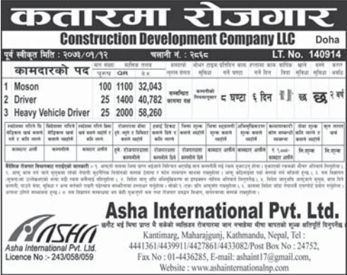 Jobs For Nepali In Qatar, Salary -Rs.58,260/