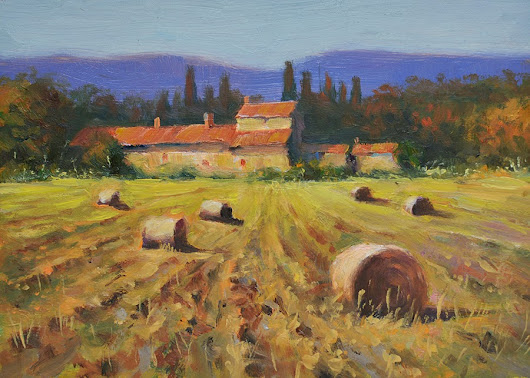 Hay bales – Tuscan farm house. Tuscany landscape oil painting on Gesso board