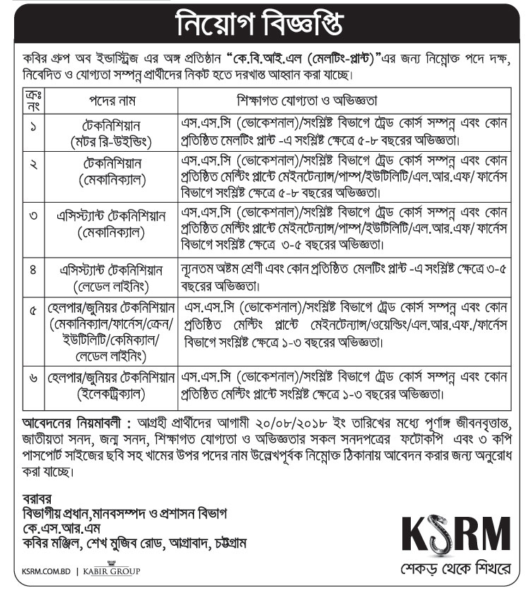 KSRM under KBIL (Melting-plant) Job Circular 2018