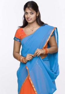 sindhu-menon-blue-half-saree