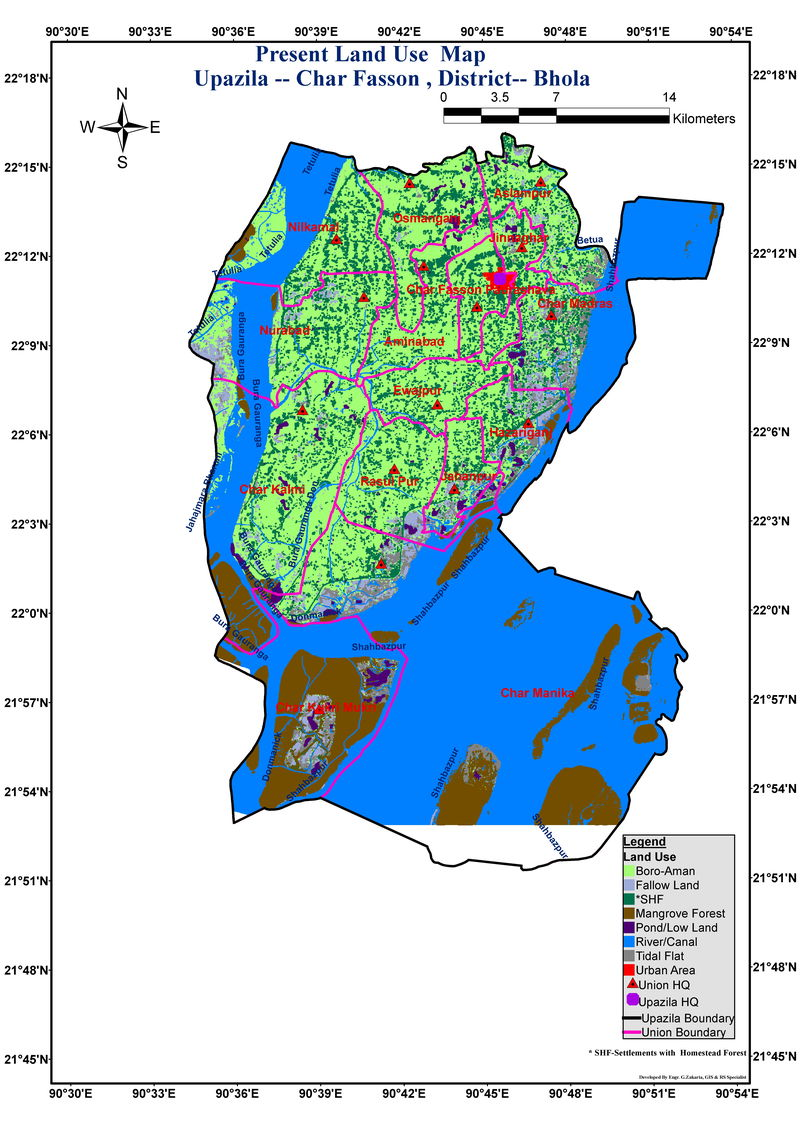 Charfassion Upazila Land Use Mouza Map Bhola District Bangladesh