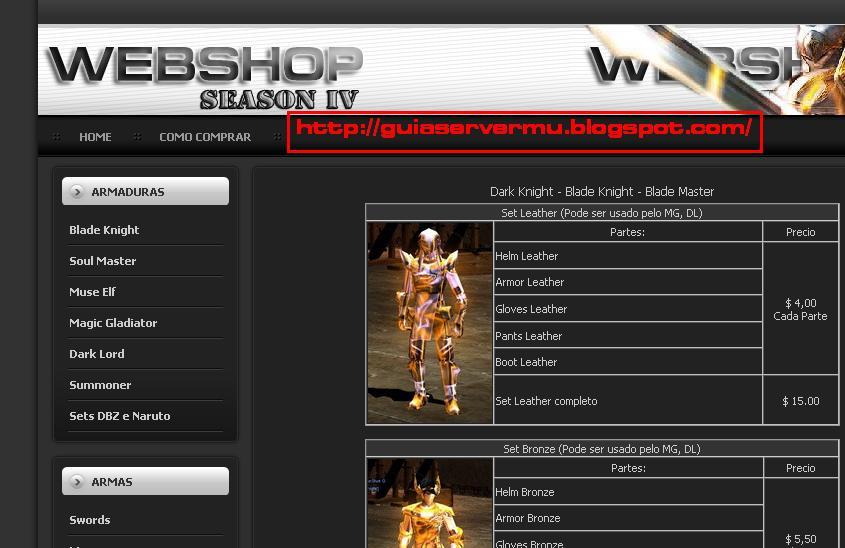 Interfaz del webshop