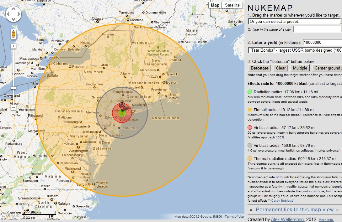 High Power Rocketry: NukeMap - a simulation showing nuclear explosions on Google maps