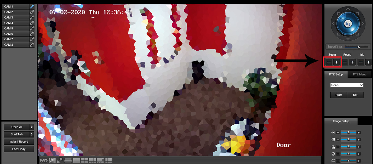 How to zoom a motorized HD-CVI varifocal camera via web browser