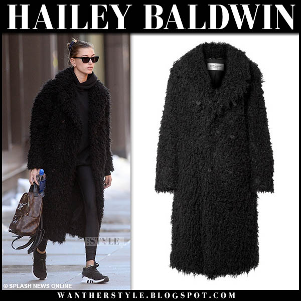 Hailey Baldwin in black faux fur saint laurent coat and sneakers model winter street style november 16