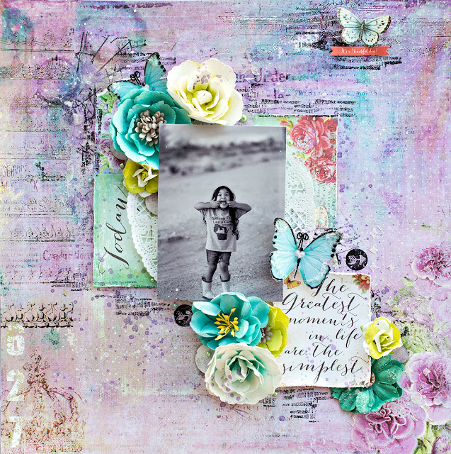 Prima Royal Menagerie mixed media layout, created by Tiffany Solorio with our Tiffany's Style kit.