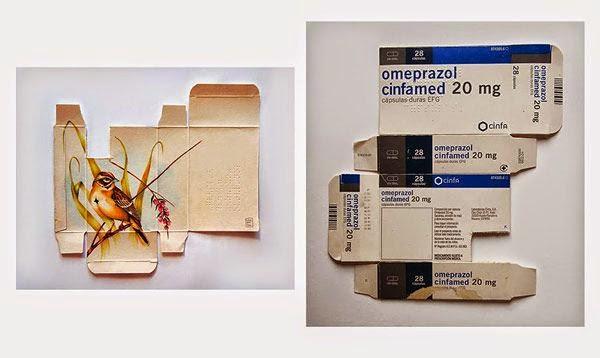 arte de pajaros en cajas de medicamento