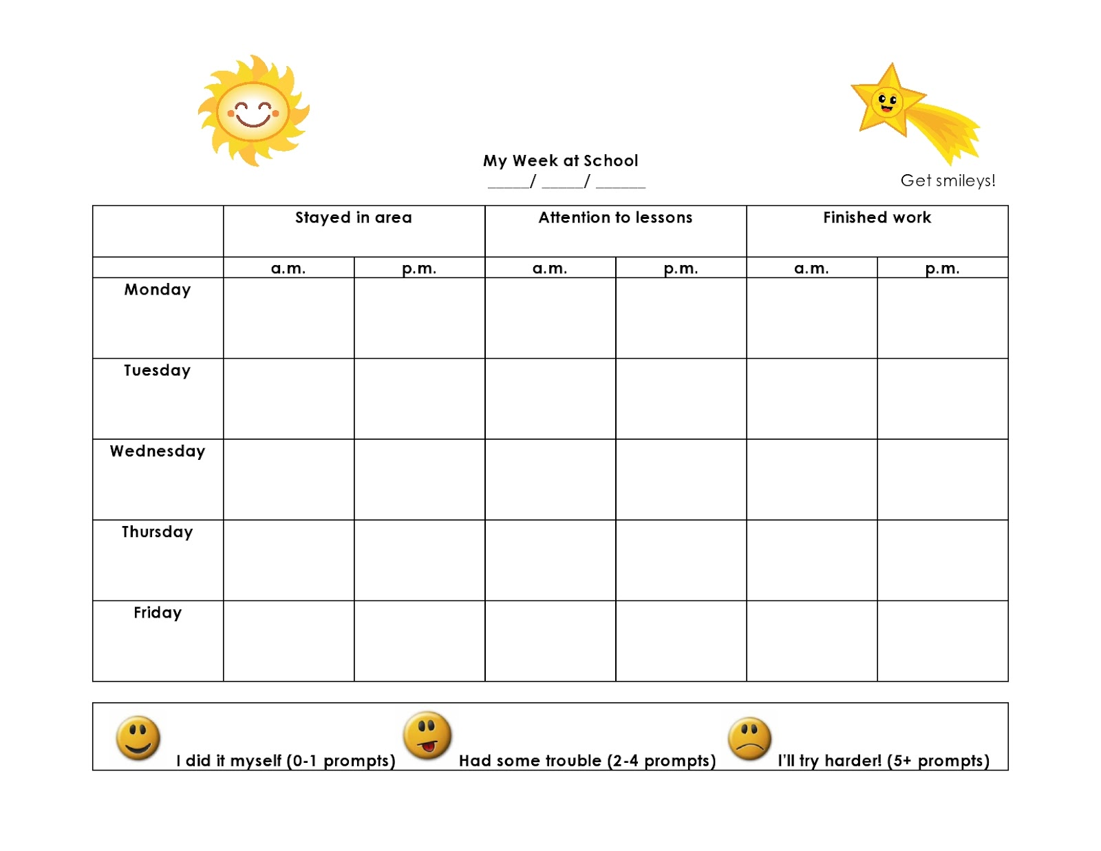 Smiley face behavior chart template search results for Smiley face behavior chart template