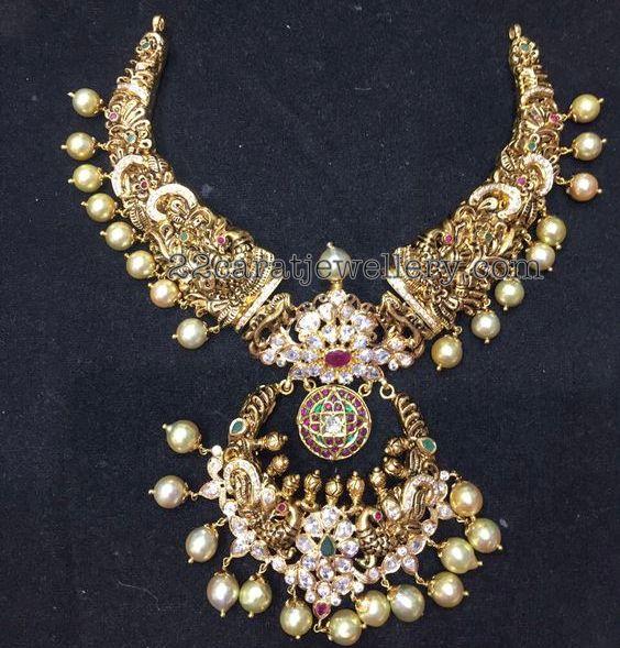 Peacock Nakshi Choker Chandbali Pendant