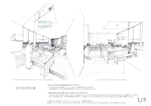 川の広がりを取込む立体的内部空間の三階建て狭小都市型住宅 キッチンと吹抜けを中心にした室内イメージ