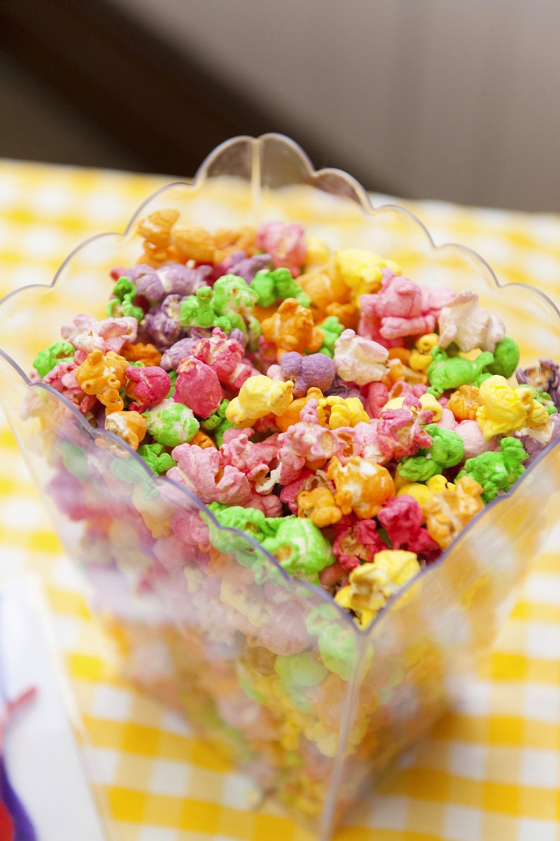 A Bright Summer Fiesta Colorful Popcorn - via BirdsParty.com