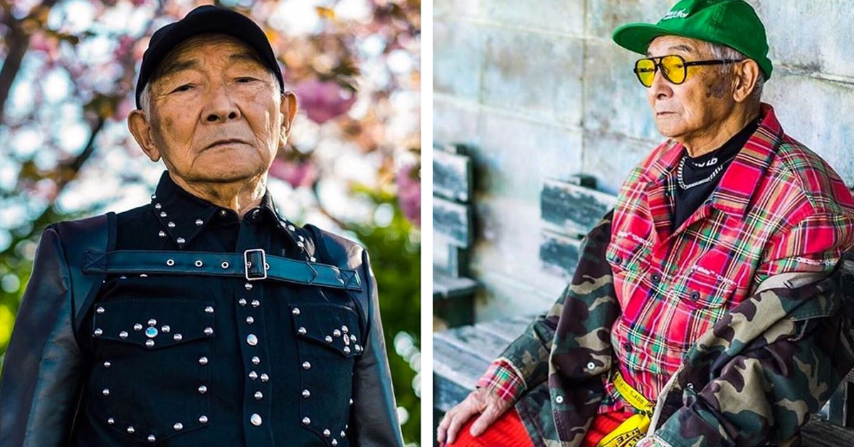 84-Year-Old Japanese Grandpa Lets His Grandson Dress Him, And Now He Looks Like An Instagram Model