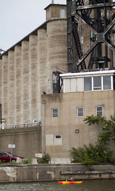 Kayak along the silos and grain elevators of the Buffalo River