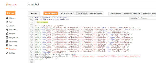 Cara Memasang Syntax Highlighter Blog di Blogger