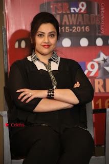 Tamil Actress Meena Latest Stills in Black Dress at TSR TV9 Awards Press Meet  0123.JPG