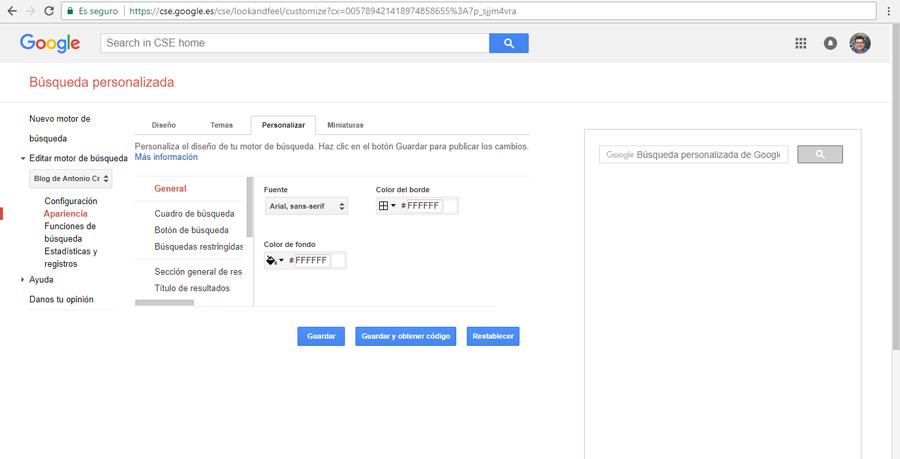 Personalizar estilos motor búsqueda