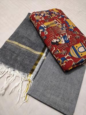 Kalamkari cotton top with handloom cotton bottom & dupatta