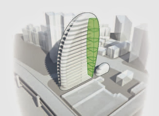 Drawing of Impressive Modern Office Tower by Aedas