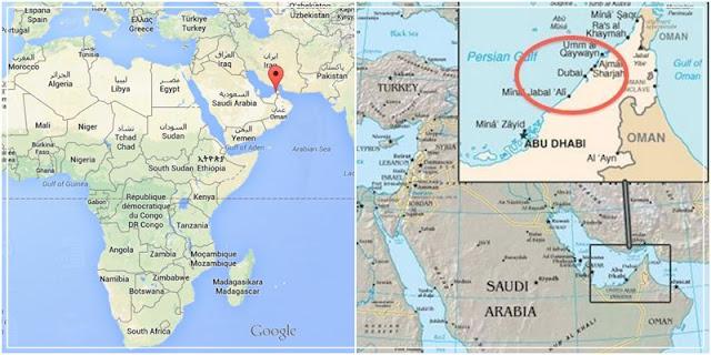 Mapa com a localização de Dubai