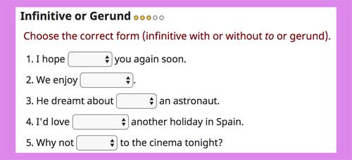 Infinitive or gerund online exercises LEVEL 3