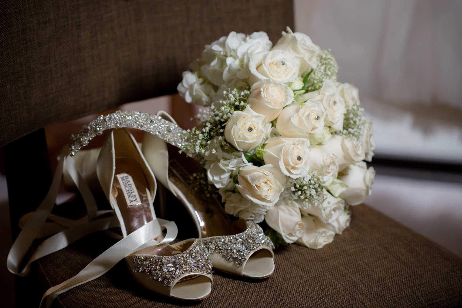 Wedding Bouquet with Bride's Shoes
