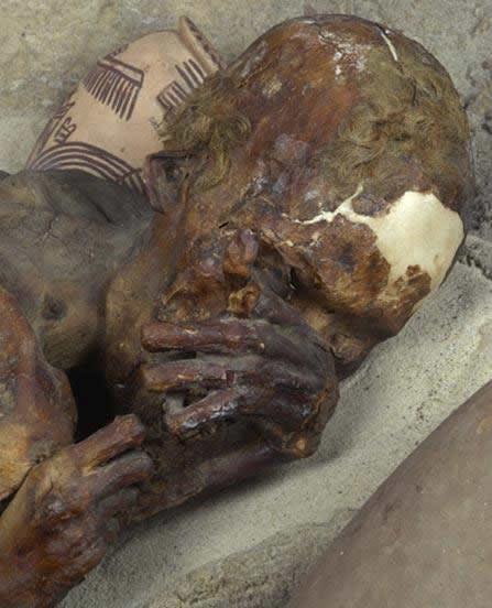 Detalle de la momia de 'El Pelirrojo'.