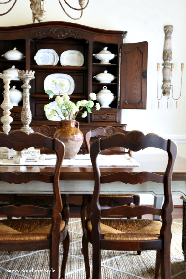French antique dining chairs with rush seats move from breakfast room to dining room